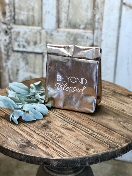 """Rose Gold """"Beyond Blessed"""" Lunch Bag"""