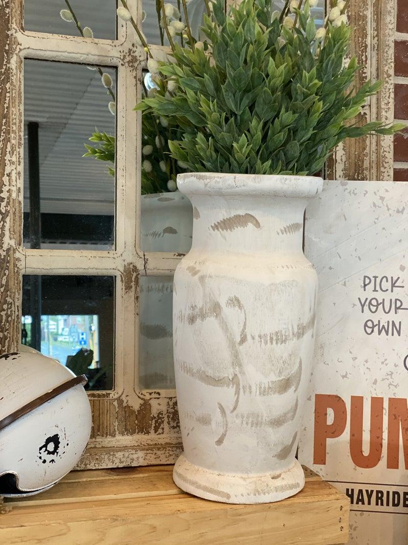 Large Distressed White Wooden Vase