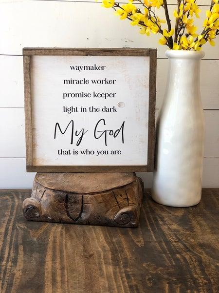 """""""My God"""" Framed Wood Sign"""