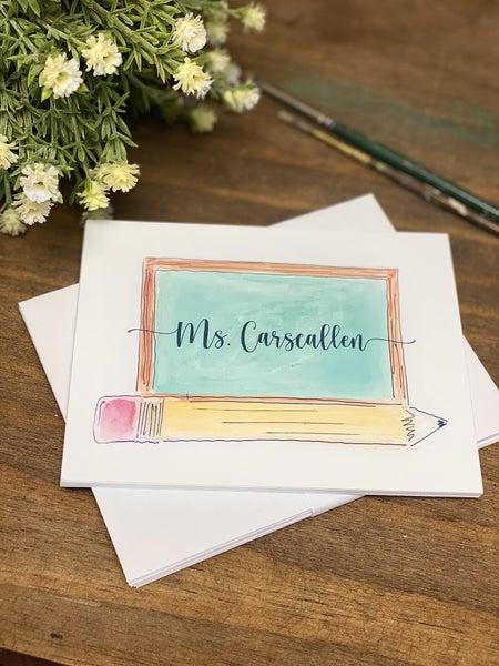 Custom Teacher Chalkboard Stationary (10 Flat Notecards + 10 Envelopes)