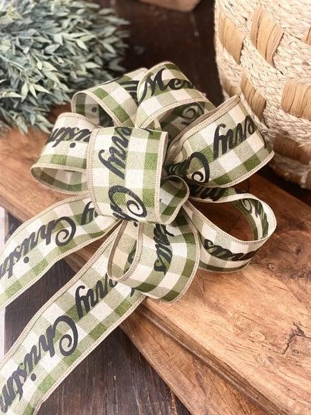 Handmade Christmas Bow - Merry Christmas Plaid