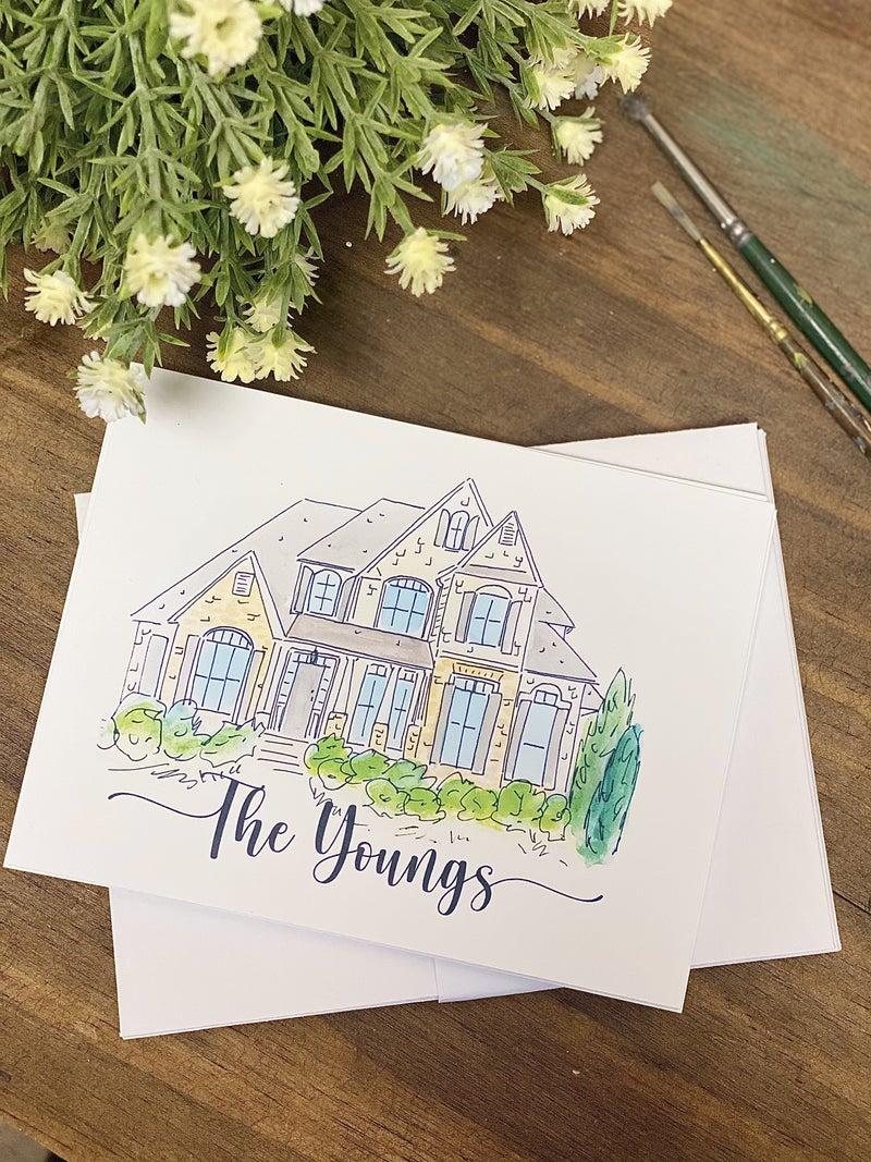 Personalized House Note Card Set (10 Flat Stationary + Envelopes)