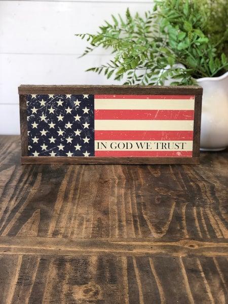 """""""In God We Trust"""" Framed Wood Sign"""
