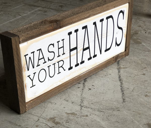 """WASH YOUR HANDS"" Bathroom Wood Sign"