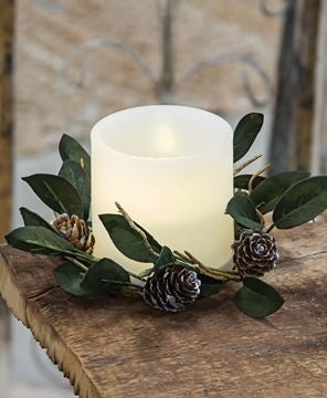 Silver Frosted Pinecone Candle Ring, Pair