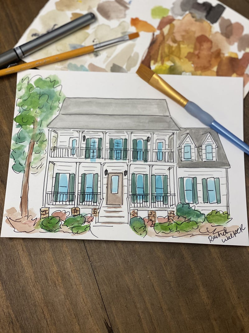 Custom Watercolor House Painting (6x8)