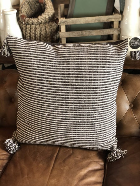 Dark Gray Square Cotton Woven Striped Pillow w/ Tassel
