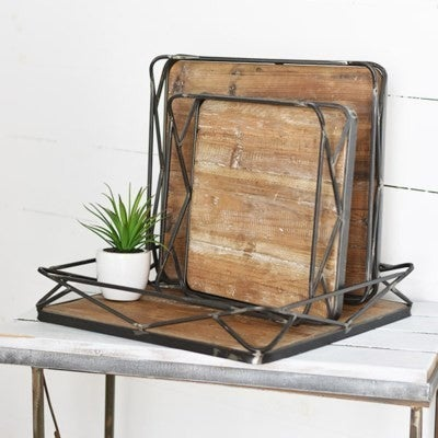 WOOD/IRON SQUARE MODERN TRAY