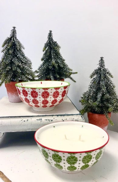 Frosted Winter Pine Bowl Candle