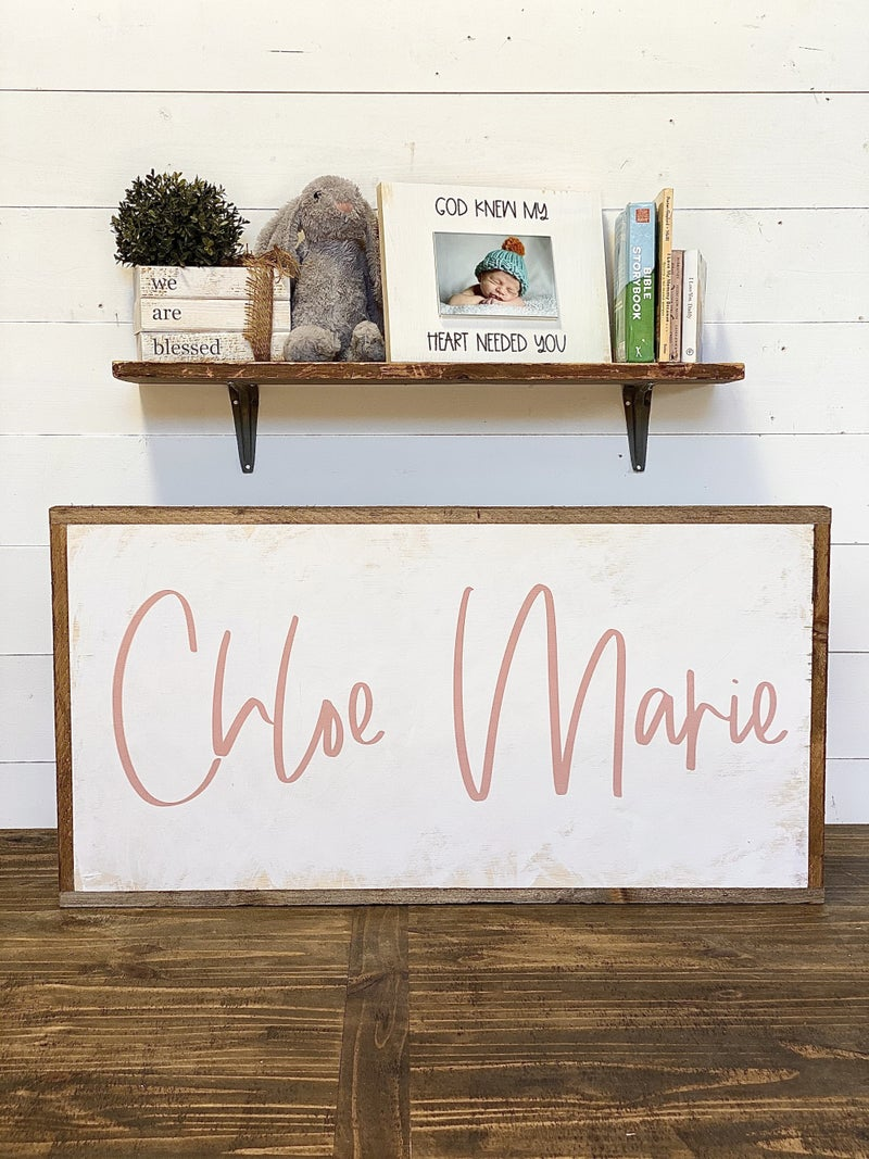 Custom Name Nursery Sign-Pink Letters