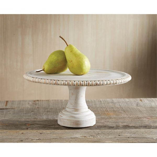 Distressed Beaded Cake Stand