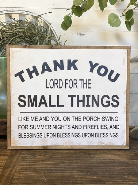 """""""Small Things"""" Framed Wood Sign"""