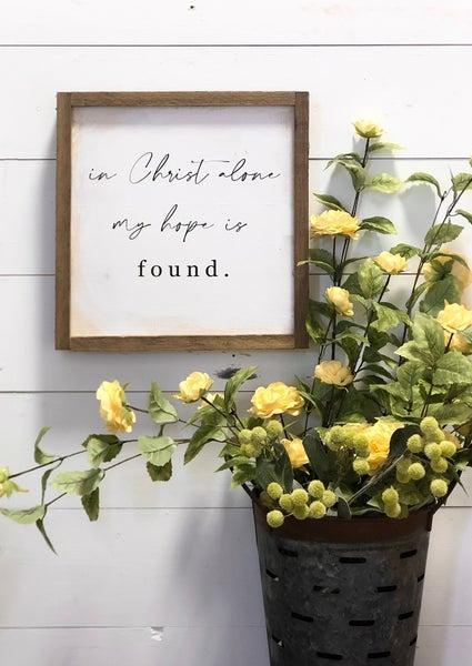 """In Christ Alone"" Framed Wood Sign"