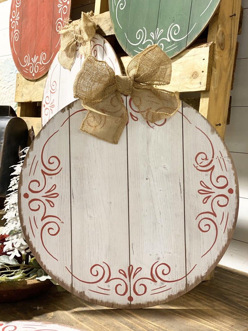 Round Door Hanger with Burlap Bow