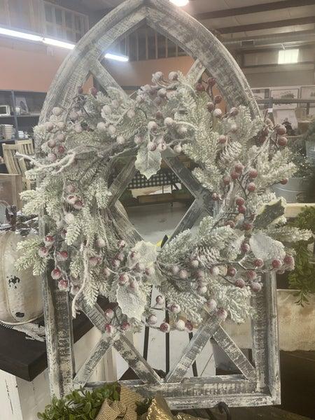 Snowy Wreath w/Pinecones & Berries