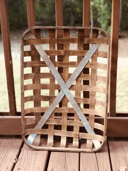 Rustic Brown Tobacco Basket with Metal (Medium)