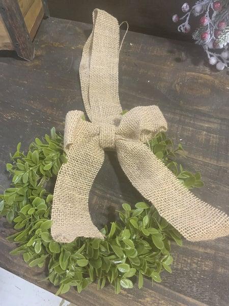 Boxwood Vine Wreath w/Burlap Ribbon