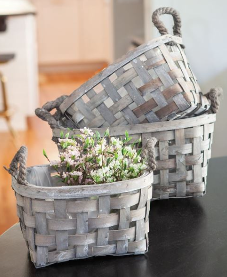 Grey Wooden Basket w/ Rope Handles and w/ Liner