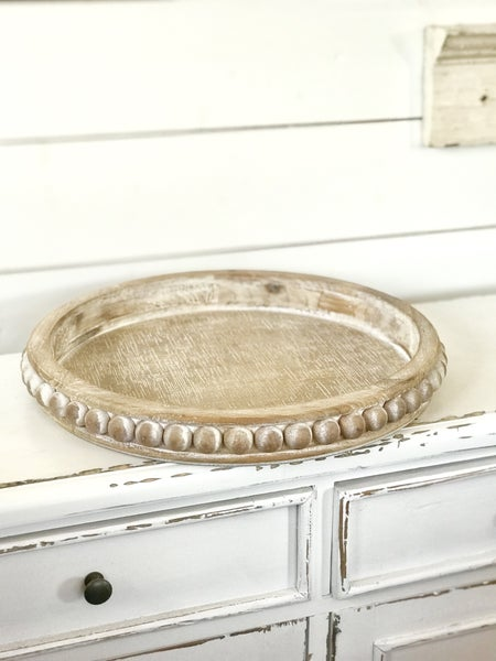 Beaded Brown Distressed Tray (Round)