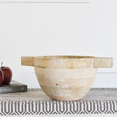 White Wash Wood Bowl with Handles