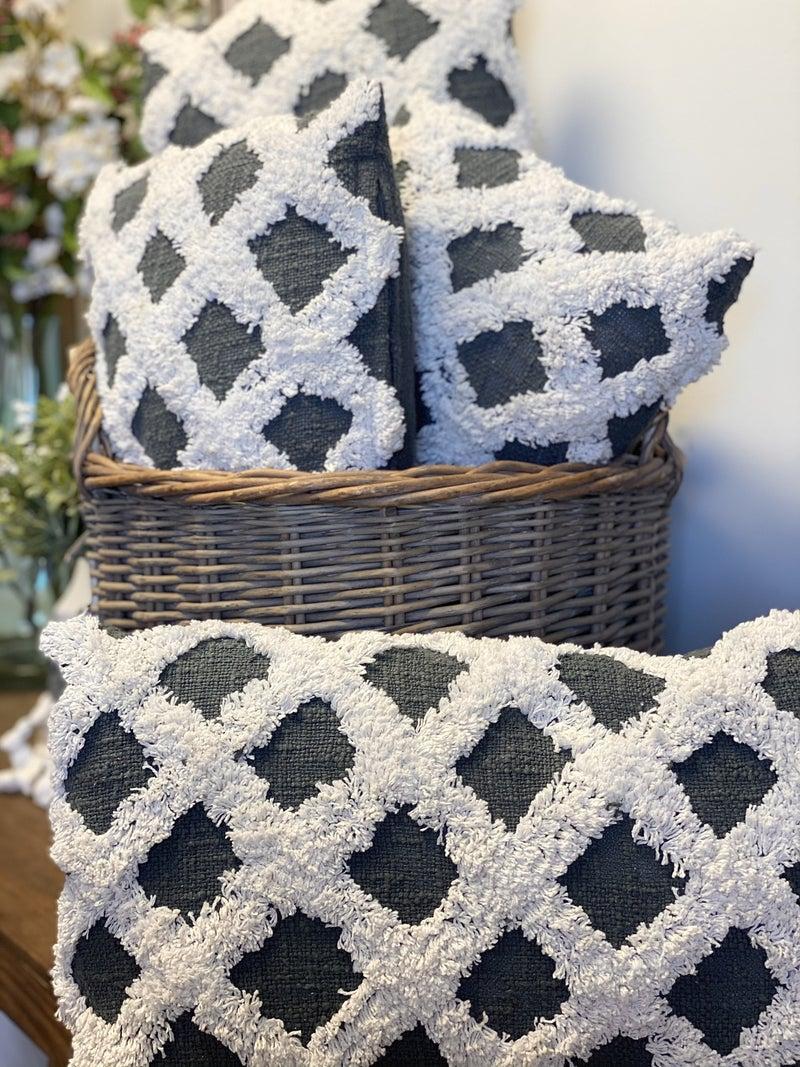Gray Criss Cross Pillow