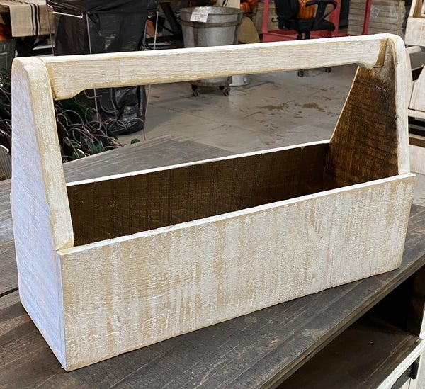 Distressed White Tool Box