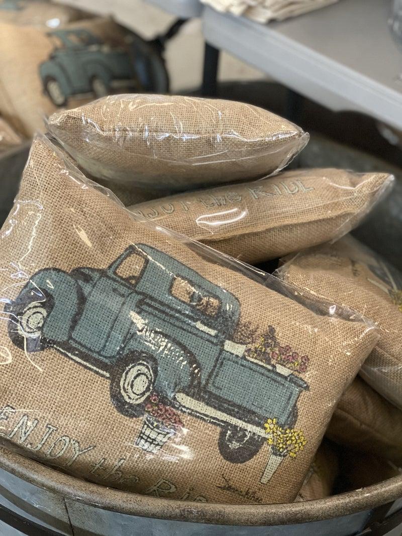 Burlap Truck Pillow