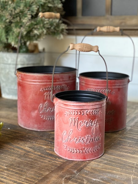 Red Merry Christmas Pail with Handle