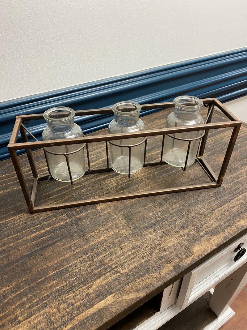 Glass Jar Holder with Copper Frame