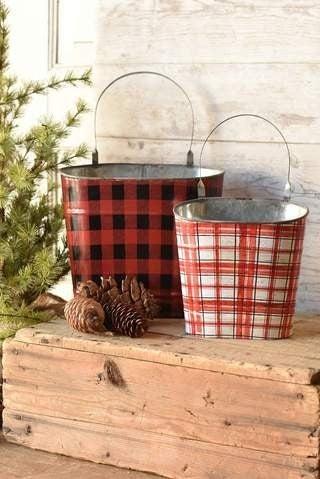 Metal Plaid Buckets, 2 sizes