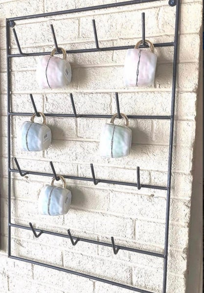 Rustic Iron Mug Rack