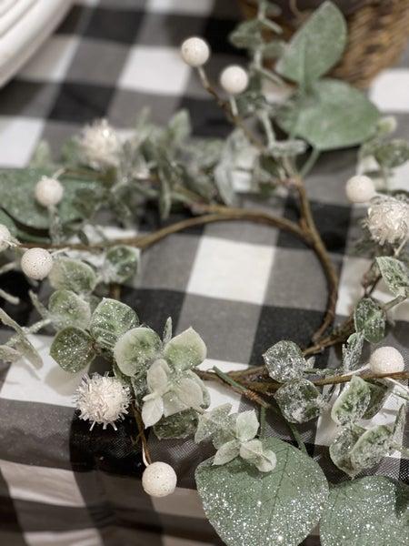 "Glittery Eucalyptus Candle Ring - 8"""