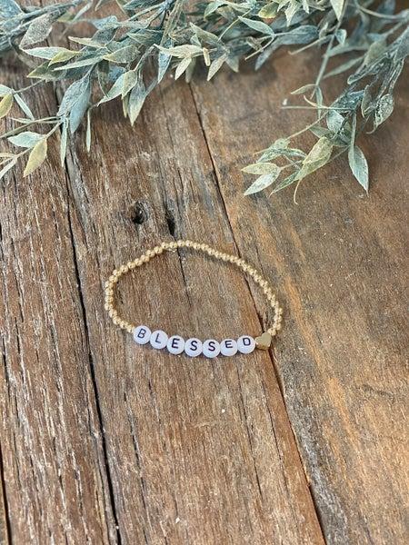 BLESSED Letter Bead Bracelet