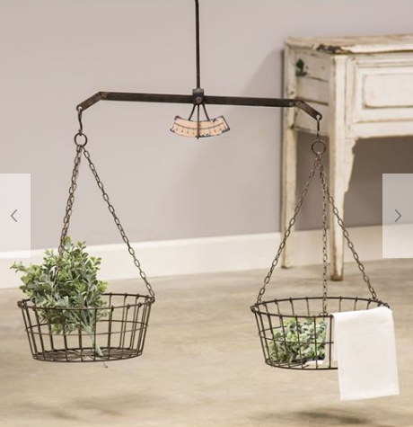 Hanging Scale with Two Wire Baskets