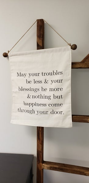 Nothing But Happines Fabric Wall Hanger