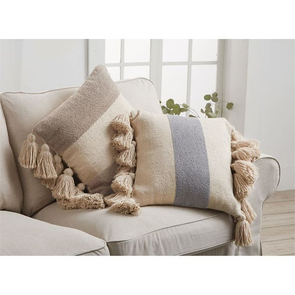 Square Striped Pillow with Tassels