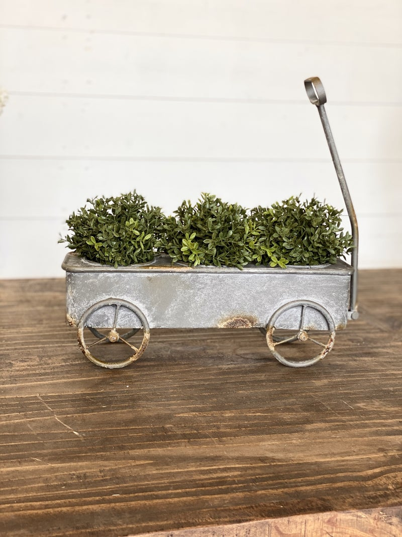 Potted Wagon On Wheels