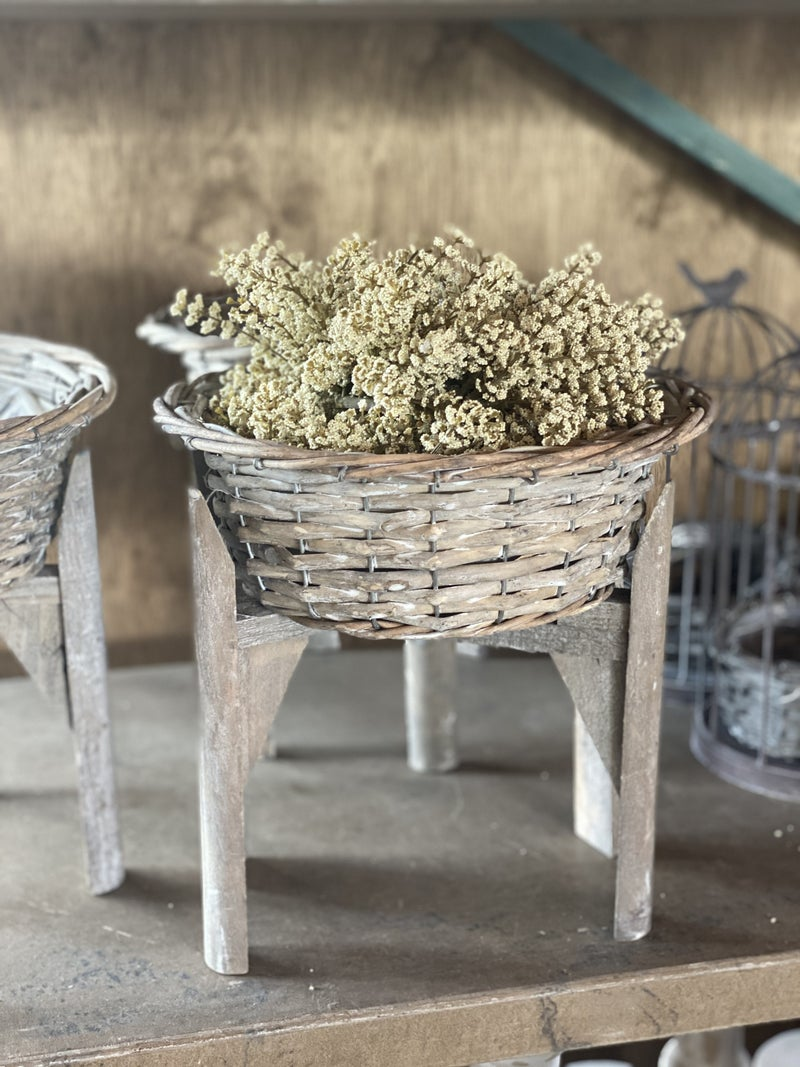 Gray Willow Flower Basket Stand