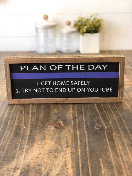 """""""Plan of the Day"""" Framed Wood Sign"""