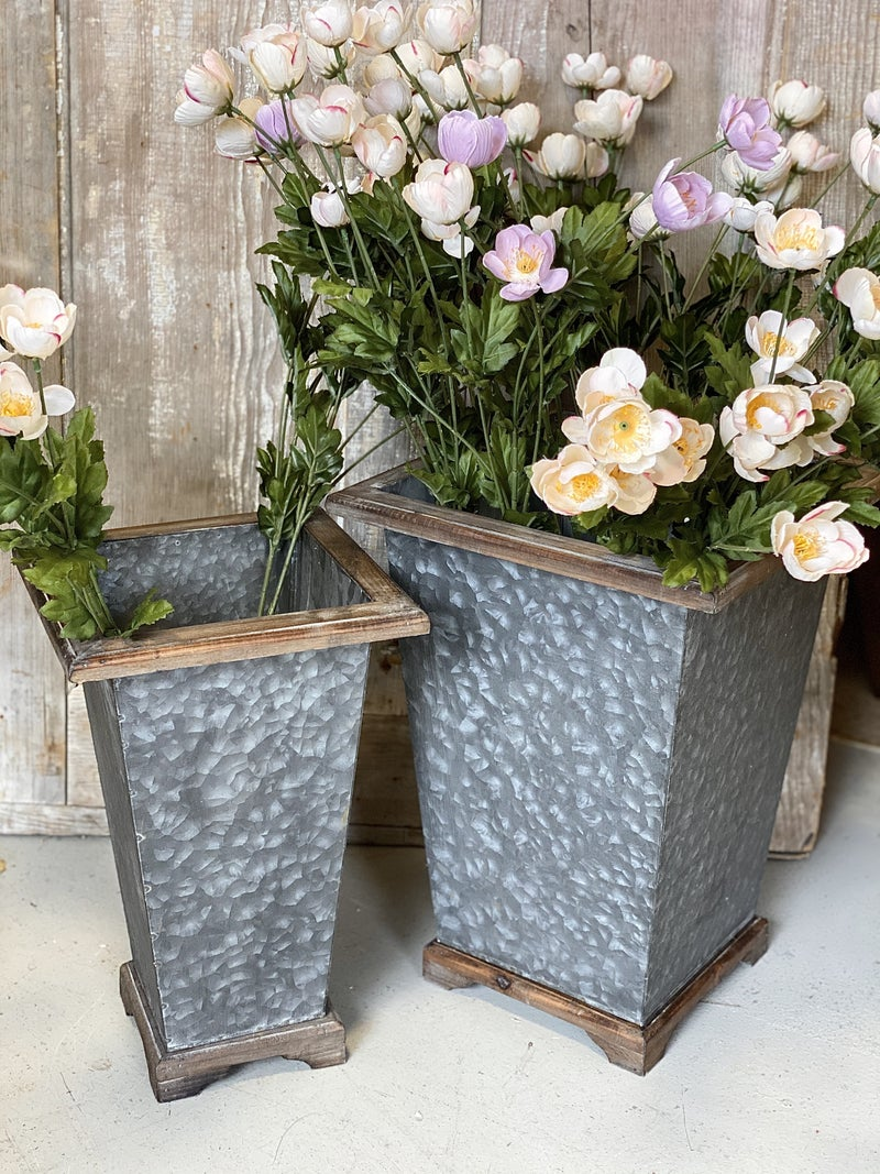Tall Square Metal Planter