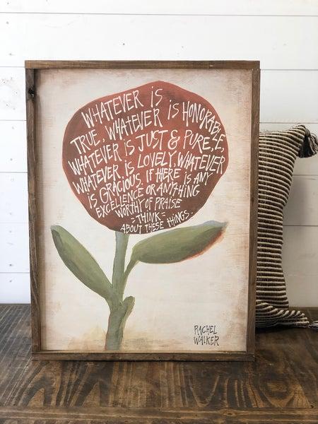 """""""Flower"""" Framed Wood Sign"""