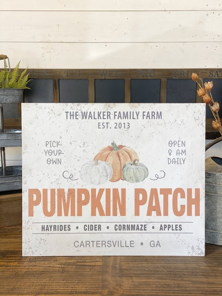 Custom Fall Pumpkin Patch Sign-with YOUR name and city!