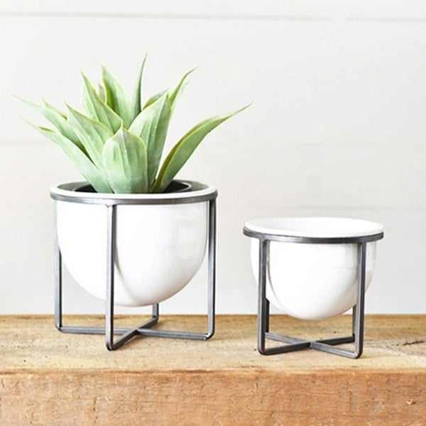 MODERN INDOOR POTS W/ IRON BASE