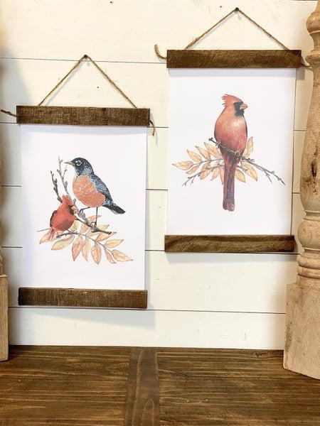 Bird Print Wall Hangings-Set of 2