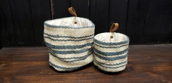 Striped Jute Wall Basket