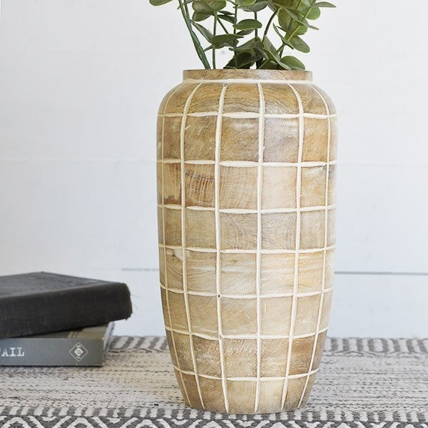 WOOD CHECK PATTERN VASE