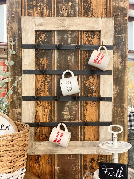 Wood & Iron Mug Rack