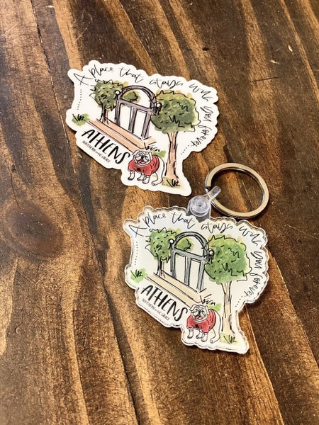 Athens Sticker and Athens Key Chain Combo