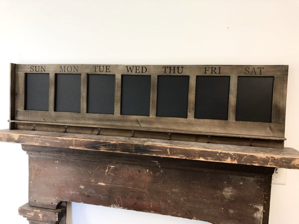 Days of the Week Chalkboard with Hooks