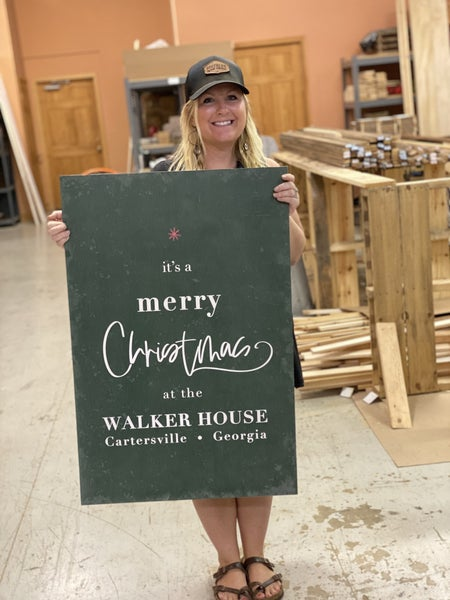 Custom Green Merry Christmas Tree Sign